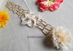 Collana all'uncinetto con cerchi e catena panna di CREATIVISSIME su DaWanda.com