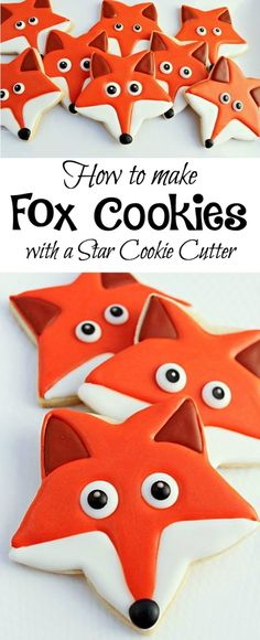 Decorated Sugar Cookies 73556 How to make Fox Cookies with a Star Cookie Cutter Star Cookies, Fancy Cookies, Fox Cookies, Iced Cookies, Cute Cookies, Royal Icing Cookies, Cut Out Cookies, Cookies Et Biscuits, Cupcake Cookies