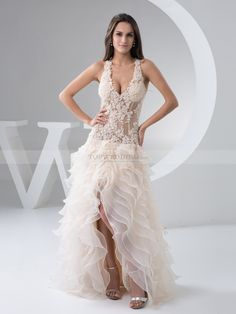 Margeret - V Neck Applqiued Wedding Gown with Ruffle Skirt and X Back
