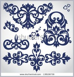 Vector set of scrolls and vignettes in Victorian style Element for design It can be used for decorating of invitations, cards, decoration for bags and at tattoo creation