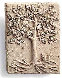Details about walnut tree happy squirrel cast cement 4 mini wall plaque nature garden