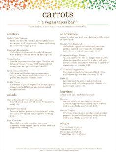 vegan tapas menu template