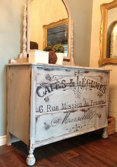 Learn how to transfer a graphic image onto furniture.  Tutorial by Repurposed Gems.