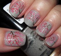 Cherry Blossoms Nail Art Cool, but I know I don't have the patience to get these done on me.