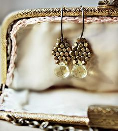 Lemon Quartz and Brass Drop Earrings by Caprichosa Jewelry on Scoutmob Shoppe