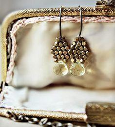 Lemon+Quartz+and+Brass+Drop+Earrings