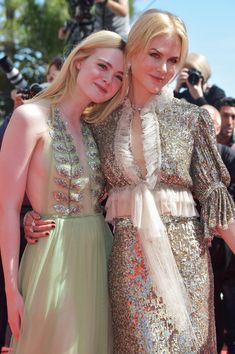 Actresses Elle Fanning and Nicole Kidman attend the 'How to Talk to Girls at Parties' screening during the 70th annual Cannes Film Festival.