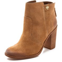 Tory Burch Leena Suede Mid Heel Booties - Nutshell (€180) ❤ liked on Polyvore featuring shoes, boots, ankle booties, booties, sapatos, ankle boots, suede booties, chunky-heel boots, short boots and high heel ankle boots