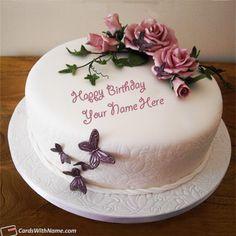 Butterflies Roses Girls Birthday Cake With Name Generator