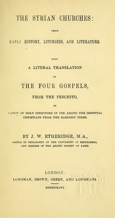 Etheridge Gospels Title, Bible In My Language