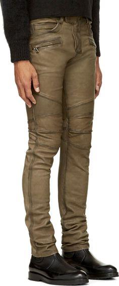 Balmain Olive Green Leather Classic Biker Trousers