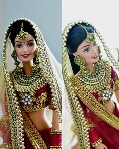 This is an Indian bride doll. Made on a barbie in India regular body type and wears heavily embellished Indian bridal costume. Indian Wedding Bride, Indian Bride And Groom, Indian Bridal, Bride Groom, Indian Weddings, Corpse Bride Doll, Bride Dolls, Wedding Doll, Wedding Dress