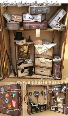 Alpha Stamps News » Haunted Sunken Ship Shadowbox In A Suitcase!