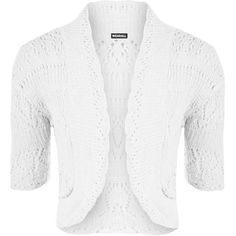 Estella Crochet Knitted Cardigan ($12) ❤ liked on Polyvore featuring tops, cardigans, white, crochet open cardigan, crochet cardigan, short sleeve tops, white top and crochet top