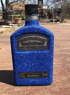 Excited to share the latest addition to my shop: Royal Blue Glittered Gentleman Jack Bottle Alcohol Bottle Decorations, Alcohol Bottle Crafts, Mini Alcohol Bottles, Empty Liquor Bottles, Decorated Liquor Bottles, Glass Bottle Crafts, Diy Bottle, Patron Bottle Crafts, Whiskey Bottle Crafts