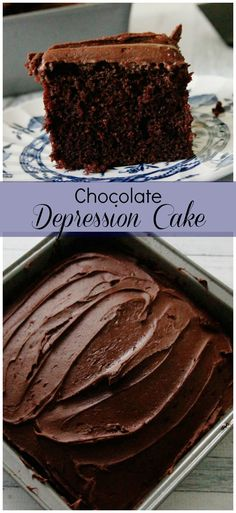 Chocolate Depression Cake-this recipe originates from the Great Depression. Also know as a Crazy Cake or Wacky Cake,  it's also egg-free and dairy free for those with allergy issues