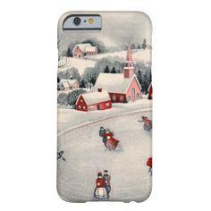 Navidad del vintage, charca congelada patinadores