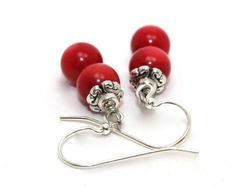 1.5 inches long Red Coral and Ornate Bali Silver Drop Earrings | AyaDesigns - Jewelry on ArtFire