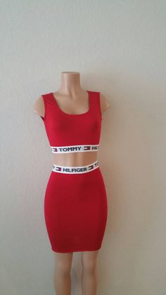 Restructured Tommy Hilfiger Tank w/ Pencil Skirt -Crop Tank Top -Fitted Skirt -Skirt Is Above Knee -Fabric is A Cotton Knit Very Stretchy