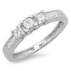 Elora 14K White Gold 3/5ct TDW Princess Diamond 3-stone Engagement Ring (Size 5.5), Women's, Silver
