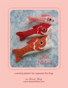 Koinobori are Japanese carp flags traditionally flown on May Children's day. These Koi flags are easy to sew and make fun colorful decorations for any day of the year! get the pattern to sew your own Fabric Crafts, Sewing Crafts, Sewing Projects, Koi, Felt Fish, Fish Crafts, Crochet Amigurumi, Plush Pattern, Thinking Day
