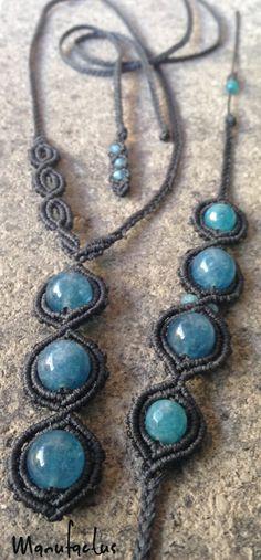 Necklace and bracelet angelite stone...Manufactus art macramè handmadeinitaly