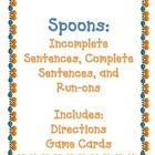 Spoons Game: Complete, Incomplete, and Run-on Sentences! 5th Grade Classroom, Future Classroom, Classroom Ideas, Speech Language Therapy, Speech And Language, Language Arts, Run On Sentences, Complete Sentences, Teacher Stuff