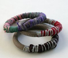 Stacking bracelet, ethnic rope bracelet, silk textile bracelet, fiber jewelry, three pieces, burgundy, purple, Christmas gift