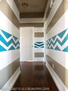 LOVE this idea for Beach House Walls! but I don't think I would ever do a cornered hallway like this...perfect for a beach house Bedroom <3