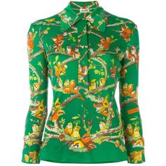 Hermès Vintage Bird Print Blouse ($1,073) ❤ liked on Polyvore featuring tops, blouses, multicolour, floral top, long sleeve silk blouse, bird print blouse, green top and silk blouses