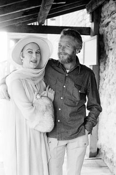 Ava and Paul Newman on the set of The Life and Times of Judge Roy Bean, 1972