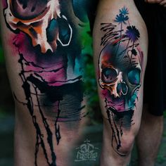 Watercolor skull sleeve tattoo.  These sunning watercolor sleeve tattoos have been done with a touch of contemporary, abstract and naturalistic art. I promise you won't believe your eyes!