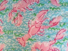 """Lilly Pulitzer Lobstah Roll 18""""x18"""" fabric piece. Lilly Pulitzer Fabric, Quilts, Open House, Projects, Painting, Art, Log Projects, Art Background, Quilt Sets"""