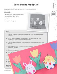 Make adorable pop-up greeting cards with your class to celebrate spring! This #FREE #Easter lesson plan also includes fun math and language activities and the #history of Easter! Grade: 3-5