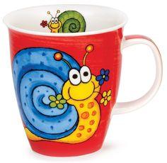Dunoon Bugs - Snail Nevis shape Mug. Very funny snail mug by Scottish mugs factory Dunoon.
