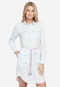 khujo Kleid 'Leanna' in azur Rain Jacket, Windbreaker, Shirt Dress, Jackets, Blue, Shirts, Tops, Dresses, Products