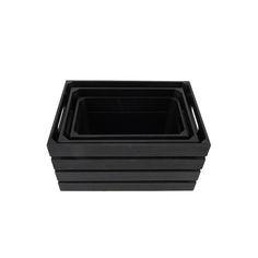 Distressed Black 13.4'W x 9.5'H Nesting Storage Crates, Set of Three
