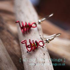 Christmas Spiral Tree Earrings  handmade by www.allmylittlethings.co.uk ideal stocking filler or gift £5.00