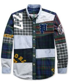 Polo Ralph Lauren Patchwork P Letterman Stadium Rugby Preppy Oxford Fun Shirts Cool Shirts, Casual Shirts, Ralph Lauren Shop, Polo Outfit, Preppy Men, Rugby, Wicked Clothing, Oxford, Menswear Trends