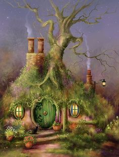 The Wizards Mark A cat passing through the garden on business of her own stopped several minutes and sniffed. Magic she thought, as she gazed upon the strange sign scratched into the Hobbit's beautiful green door! Fantasy Forest, Fantasy House, Magic Forest, Fantasy Paintings, Fantasy Artwork, Magical Paintings, Illustration Art, Illustrations, Cottage Art