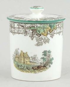 Spode - Byron brown with colour - Jam or Preserve Pot c1930s