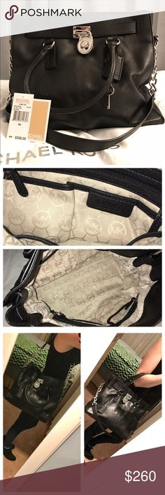 """M I C H A E L   K O R S AUTHENTIC! Black leather bag with silver tone accents 