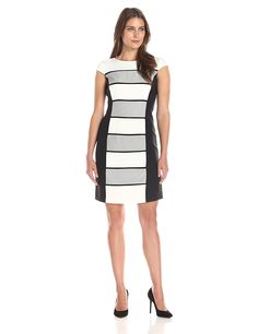 Sandra Darren Women's Cap Sleeve Woven Panel Dress * This is an Amazon Affiliate link. Learn more by visiting the image link.