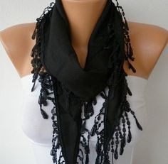 Black Scarf   Pashmina  Headband Cowl with Lace Edge   by fatwoman, $13.50