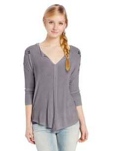 Eyeshadow Juniors Henley Top with Studs Henley Top, Henley Shirts, Henleys, Best Sellers, Women Accessories, Long Sleeve Shirts, Eyeshadow, Tunic Tops, Clothes For Women
