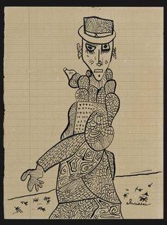 UNTITLED/ Gaston Chaissac (born August 13, 1910, Avallon, France, died November 7, 1964, La Roche-sur-Yon, France) Untitled, c. 1948, Vendée, France, ink on paper, 8 7/8 x 6 3/4 in., Collection de l'Art Brut, Lausanne, Switzerland, ni-285-07. Photo credits: © Collection de l'Art Brut, Lausanne. Photo by Amélie Blanc, Atelier de numérisation—Ville de Lausanne