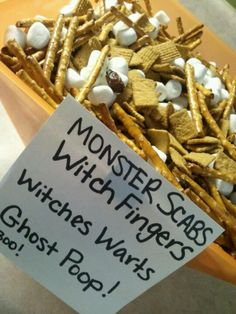 Cute Halloween snack. Witch fingers. Ghost poop. Witches warts. Witch fingers. Monster scabs.