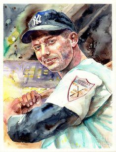Mickey Mantle portrait Canvas Print / Canvas Art by Suzann Sines Baseball Painting, Baseball Art, Canvas Art, Canvas Prints, Art Prints, The Mick, Evil Empire, New York Yankees, Damn Yankees