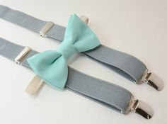 Sizes 6 months- Adult Kids Mens Baby Boys Light Gray Suspenders & Pastel Tiffany Blue Cotton clip on / straps bow tie Wedding SET