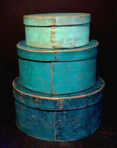 Stack of three blue painted pantry boxes-Ebay Seller: jwgrantfolkart